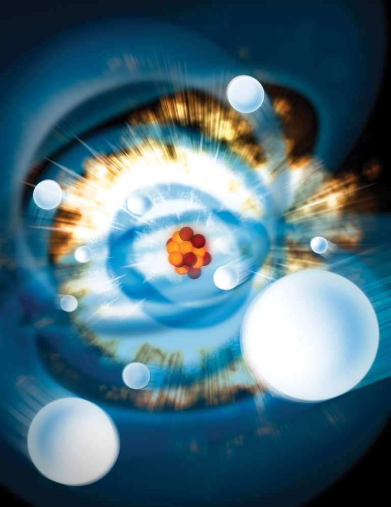 Une vue d'artiste d'un atome de néon et de son cortège d'électrons arrachés par des impulsions laser X ultra-brèves. Crédit : Gregory Stewart, SLAC