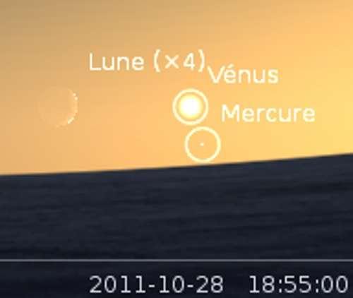 La lune en rapprochement avec Vénus et Mercure