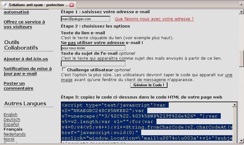 Utilisation d'un code Java pour l'affichage de son adresse e-mail. © Futura-Techno