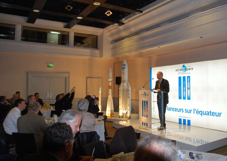Jean-Yves Le Gall, président d'Arianespace, s'exprimait le 4 janvier 2011 devant la presse. © Rémy Decourt