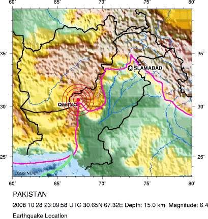 Le séisme a touché une région montagneuse à l'ouest du Pakistan, près de la frontière afghane. © USGS