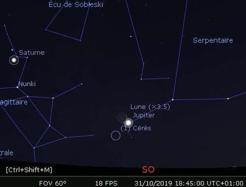 La Lune en rapprochement avec Jupiter et Cérès