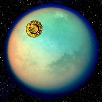 Huygens en approche de Titan(Crédits : ESA-D. DUCROS)