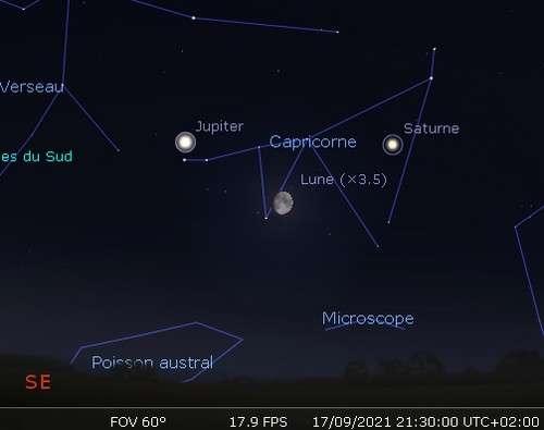 La Lune en rapprochement avec Jupiter et Saturne