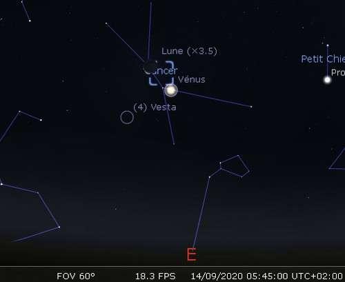 La Lune en rapprochement avec Vénus et l'amas de la Crèche
