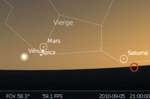 La planète Mars est en rapprochement avec l'étoile Spica
