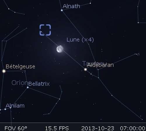 La Lune en rapprochement avec Alnath et la nébuleuse du Crabe