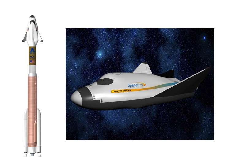 Le projet d'avion spatial de SpaceDev (filiale de Sierra Nevada) qui pourrait être lancé par une Atlas 5 de ULA. Crédit SpaceDev