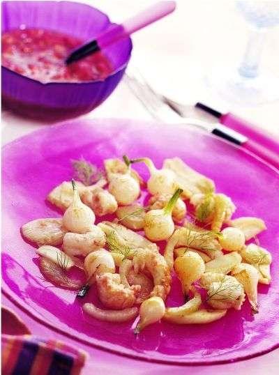 Salade de langoustines, vinaigrette aux fraises. Une recette sucrée-salée pour se régaler ! © Jean-Paul Boyer/Cedus