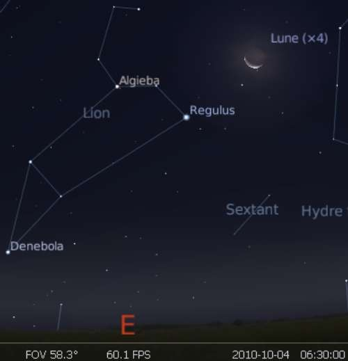 La Lune en rapprochement avec l'étoile Régulus