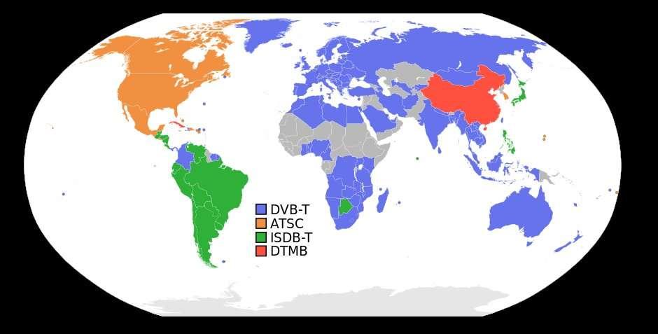 Les normes de diffusion de la télévision numérique terrestre dans le monde. En gris, les pays qui n'en disposent pas (en 2014). © Domaine public