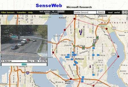 Capture d'écran du projet Senseweb de Microsoft, couplant des données sur le trafic routier à une carte sur l'Internet.