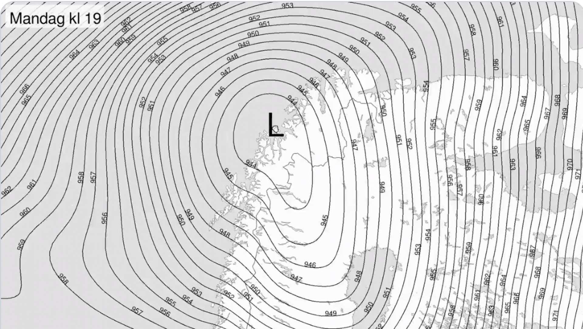 La pression atmosphérique au-dessus du nord de la Norvège le 10 février. © Meteorologene, Twitter