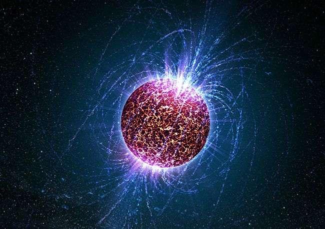 Vue d'artiste d'une étoile à neutros. Crédit Université de Pennsylvanie.