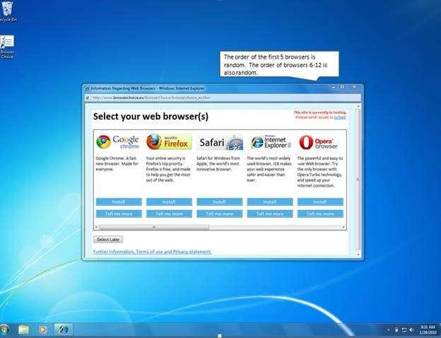 Chrome, Firefox, Safari, Internet Explorer et Opera : le choix du navigateur à l'installation, exigé par l'Union européenne, devient une réalité. © DR