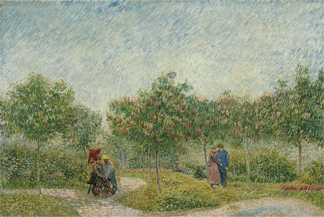 Les jardins de Montmartre avec les amoureux, de Vincent Van Gogh, un tableau exposé au Van Gogh Museum d'Amsterdam. © Google