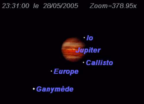Le satellite Europe disparait dans l'ombre de Jupiter