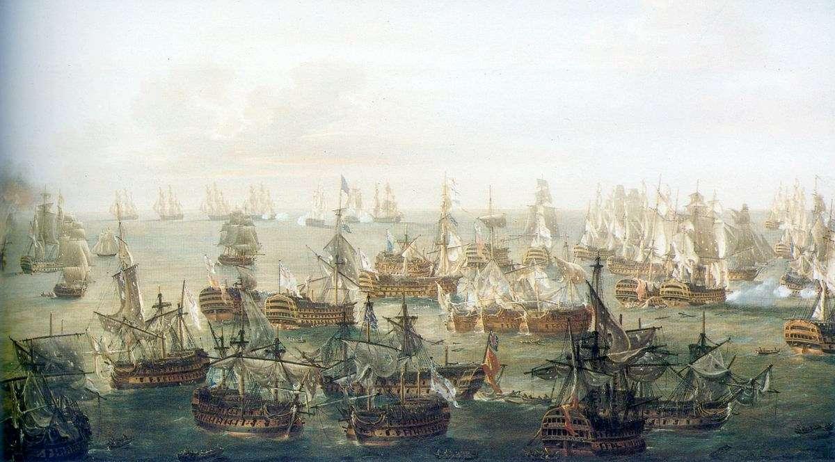 La flotte britannique, commandée par le vice-amiral Nelson, a remporté la bataille de Trafalgar face aux Français et Espagnols. © Nicholas Pocock, Wikimedia Commons, DP
