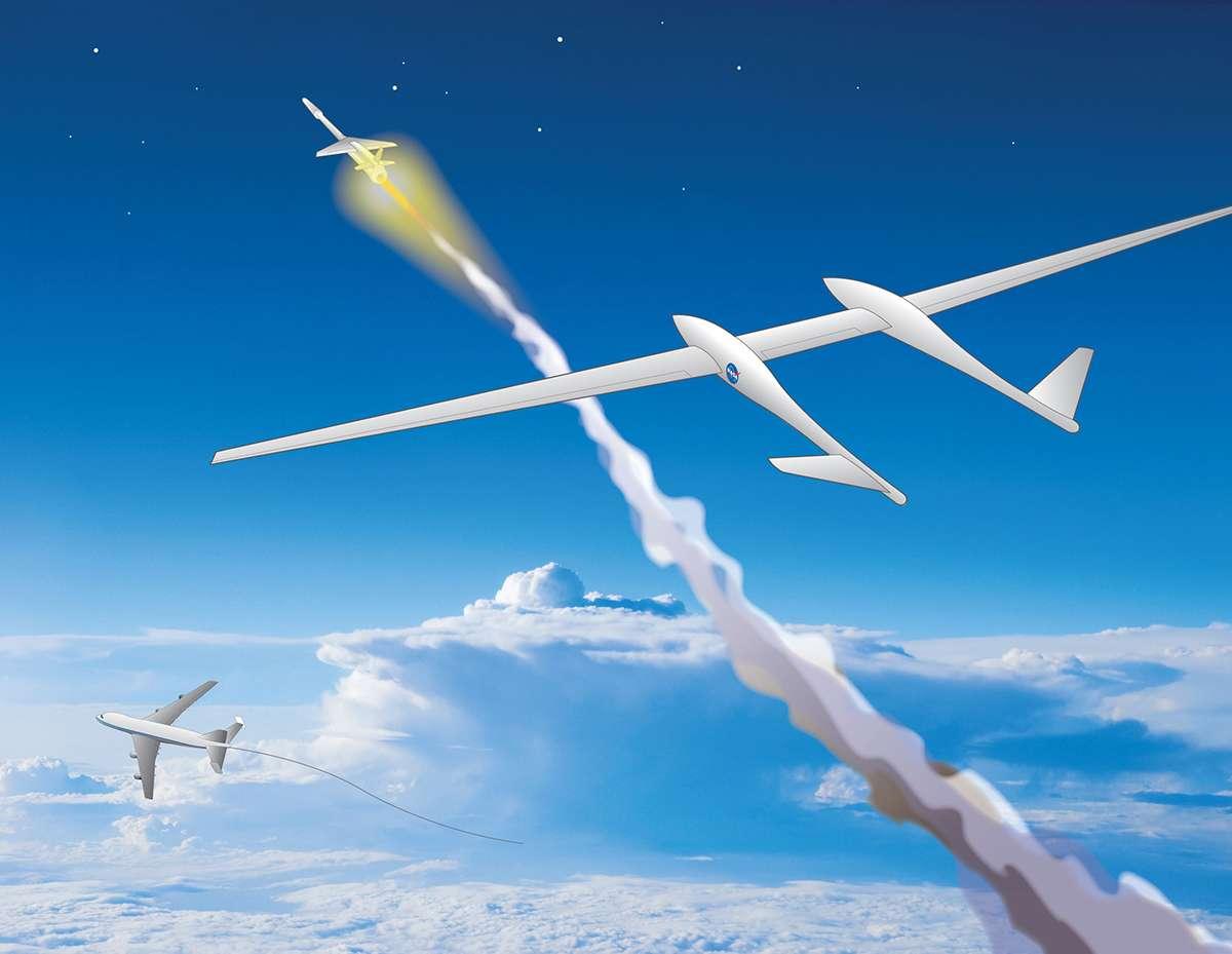Une vue d'artiste d'un lancement TGALC. Le lanceur, de petite taille, est emporté par un grand planeur, lequel est tracté par un avion qui peut être un appareil existant, seulement légèrement modifié. © Nasa