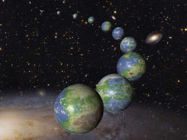 Illustration d'une pluralité de terres à travers le cosmos. Nous vivons sur une petite planète rocheuse formée il y a près de 4,6 milliards d'années. Selon une étude de la Nasa, toute la matière première nécessaire à la formation des étoiles et des planètes n'avait alors permis l'apparition que de 8 % de planètes de type terrestre dans la zone habitable de leur étoile. Loin d'être taries, les ressources d'hydrogène et d'hélium sont à même de fournir d'ici la fin des temps, les 92 % restants… Bref, 10 fois plus qu'aujourd'hui, des centaines de milliards d'exoterres. © Nasa, Esa, G. Bacon (STScI)