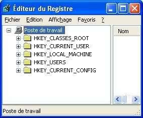 La base de registre de Windows vue par l'outil Regedit