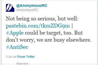 Sur Twitter, la communauté Anonymous menace : « Apple pourrait être une cible ». © Twitter