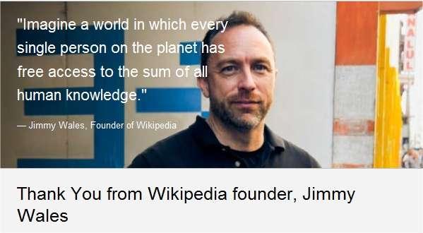 Jimmy Wales, cofondateur de Wikipédia, remercie les donateurs?