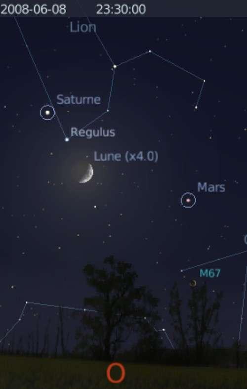 La Lune est en rapprochement avec l'étoile Régulus et la planète Saturne