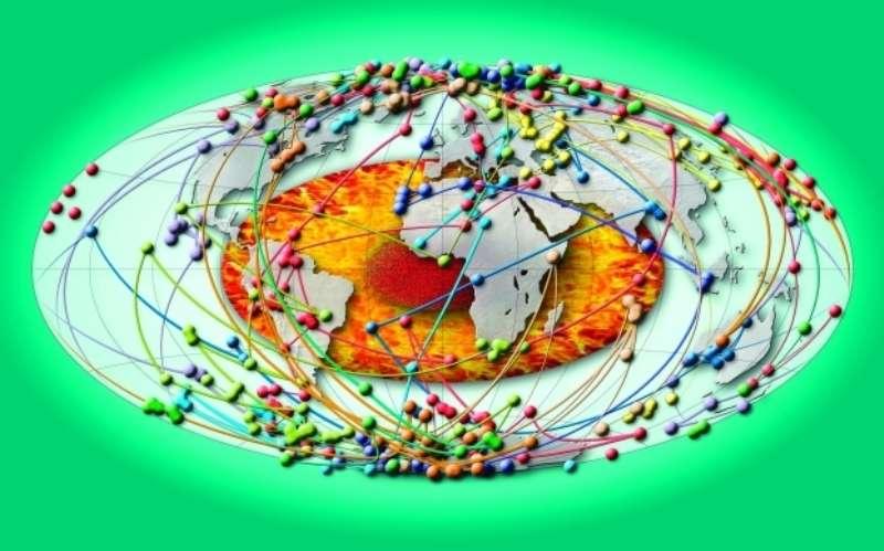 Trajectoires du pôle observées dans les enregistrements volcaniques les plus détaillés. Les données proviennent de séquences de coulées de lave superposées. En orange, représentation du noyau avec son enveloppe liquide où se génère le champ magnétique et la graine solide. © Valet et al. 2012