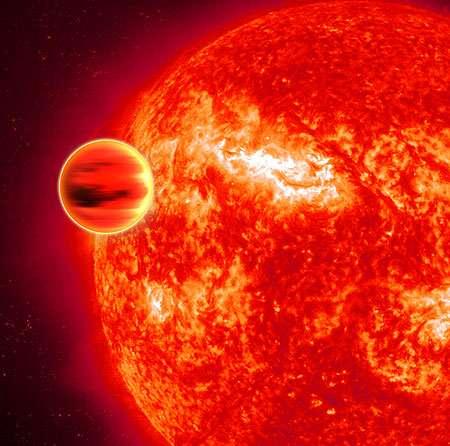Image d'artiste montrant en infra-rouge l'exoplanète HD 189733b (Crédit: ESA - C. Carreau).