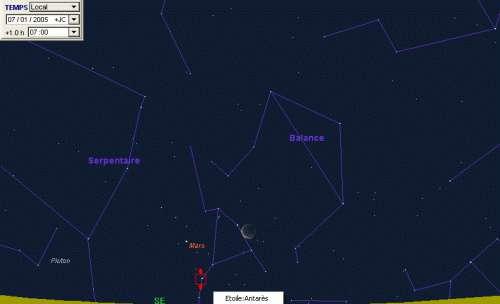 La Lune est en conjonction avec la planète Mars, et la planète Mars sera proche de l'étoile Antarès