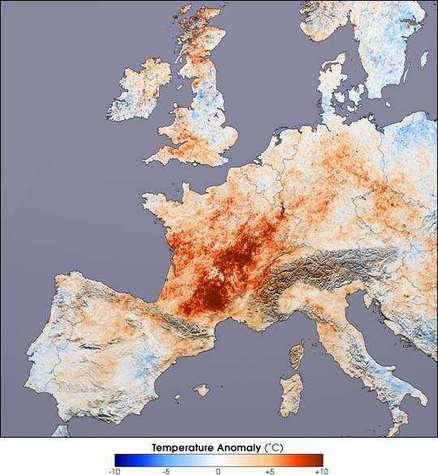 Carte de dépassement des températures moyennes en Europe durant l'été 2003.