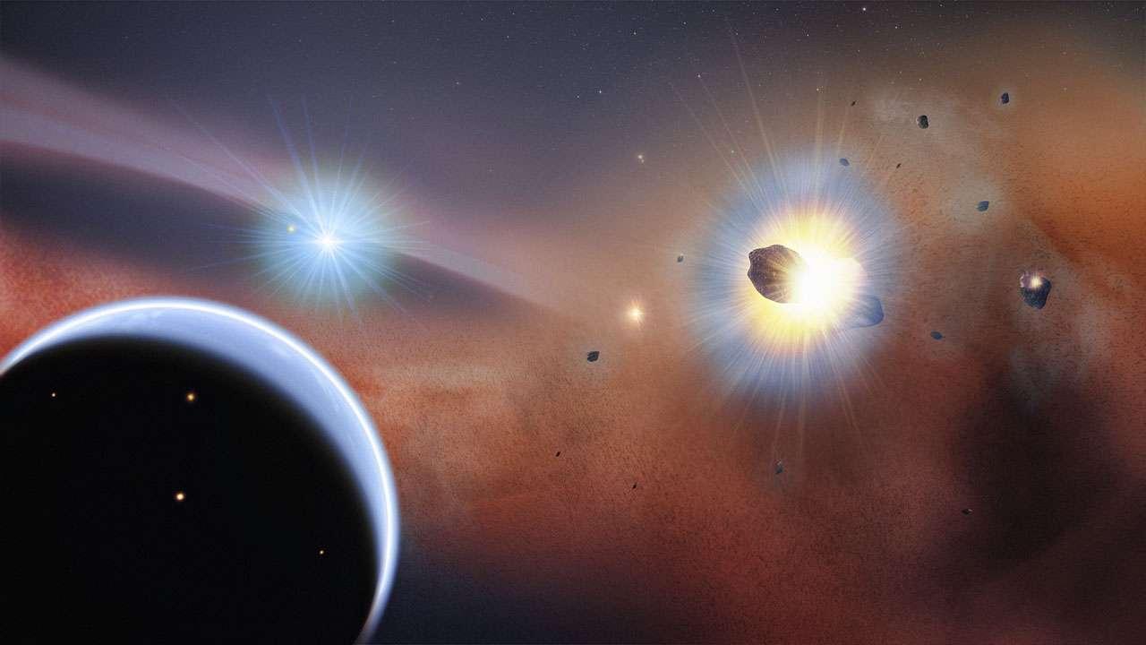 Vue d'artiste de comètes en collision dans une région distante de 13 milliards de kilomètres de la jeune étoile Bêta Pictoris. Les chercheurs pensent qu'à la limite du système de Bêta Pictoris, l'influence gravitationnelle d'une hypothétique planète géante (en bas à gauche) capture des comètes dans un essaim dense (à droite) où de fréquentes collisions se produisent. © Goddard Space Flight Center, Nasa, F. Reddy
