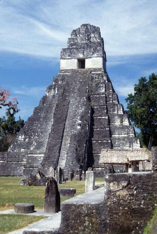 Ce grand temple maya (Temple I), bâti vers 734 après J.-C., surplombait les étendues d'eau retenues par les barrages du Temple et du Palais. Cette pyramide funéraire à 9 étages était dédiée à Jasaw Chan K'awil, l'un des plus grands divins-seigneurs de Tikal. © AAAS