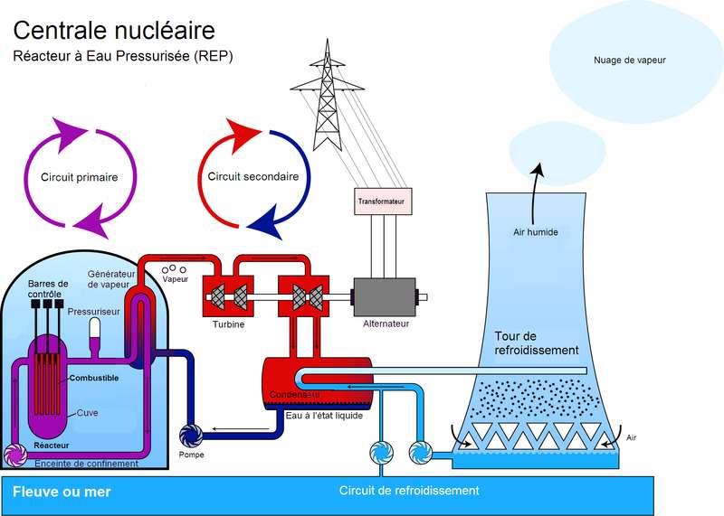 Dans une centrale nucléaire à eau sous pression, c'est l'eau qui joue le rôle de modérateur. © Steffen Kuntoff, Traduction de Enr-v, Wikimedia CC by 1.0