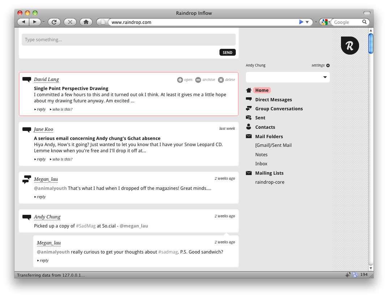 Interface épurée du client Raindrop dans un navigateur internet. © Mozilla
