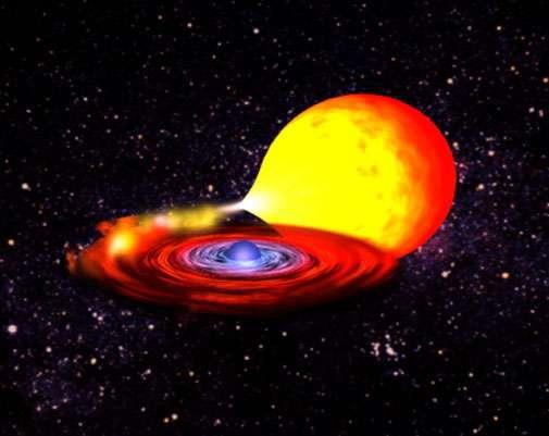 Un extrait de la simultion d'une étoile à neutrons avec sursaut X. Crédit : Nasa
