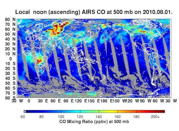 La carte mondiale du monoxyde de carbone dans l'atmosphère à 5.500 mètres d'altitude, le premier août 2010, réalisées à partir des données fournies par l'instrument Airs (Atmospheric Infrared Sounder), embarqué sur le satellite Aqua. Les incendies des forêts russes sont bien repérables. © NASA/JPL/Leonid Yurganov, University of Maryland, Baltimore County)
