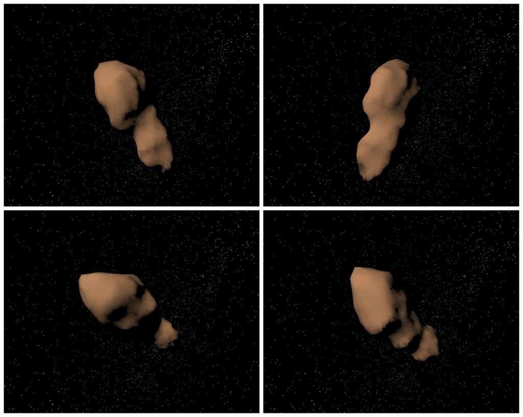 Les différentes faces de l'astéroïde 4179 Toutatis reconstituées à partir des données radar acquises lors des précédents rapprochements avec la Terre. Le 12 décembre, il sera au plus près de la Terre, soit 20 plus éloigné de nous que la Lune. © Nasa, JPL