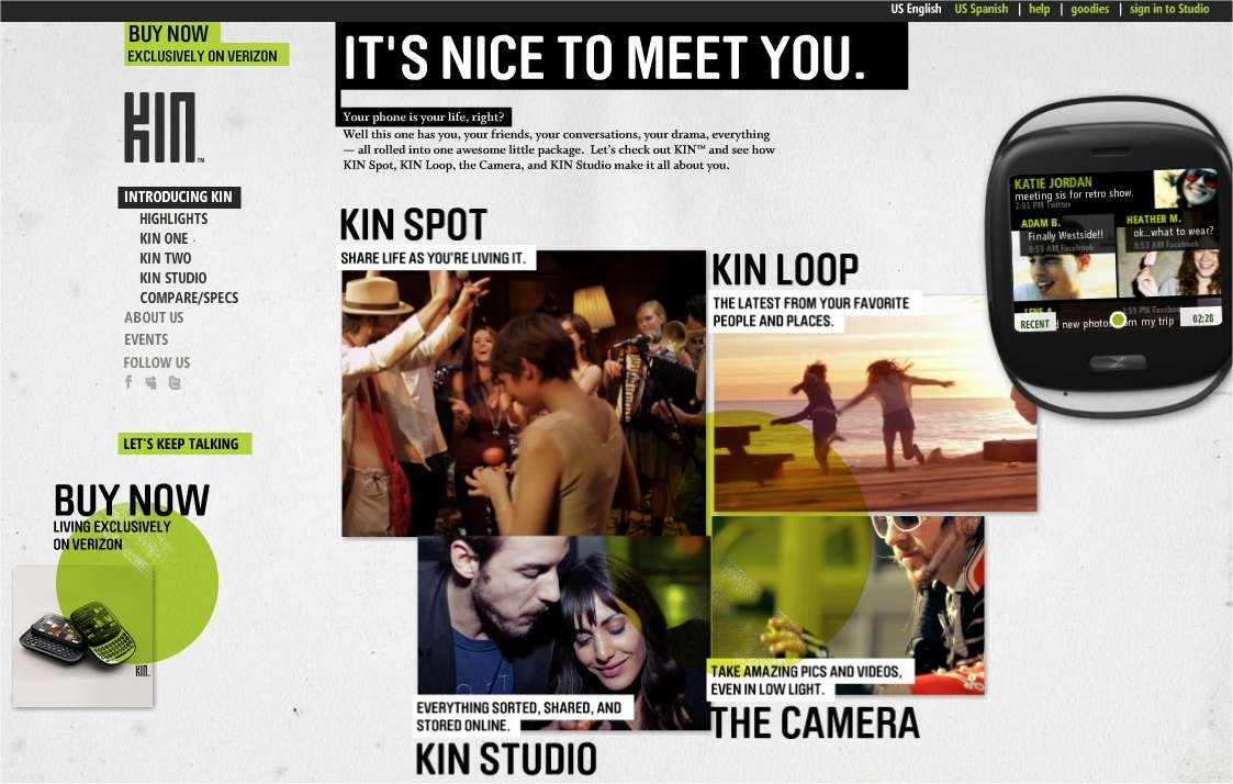 Les Kin, comme l'indique ce site que Microsoft leur a consacré, voulaient séduire les jeunes. Perdu.