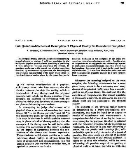 Le début de l'article d'Einstein-Podolski-Rosen. © DR
