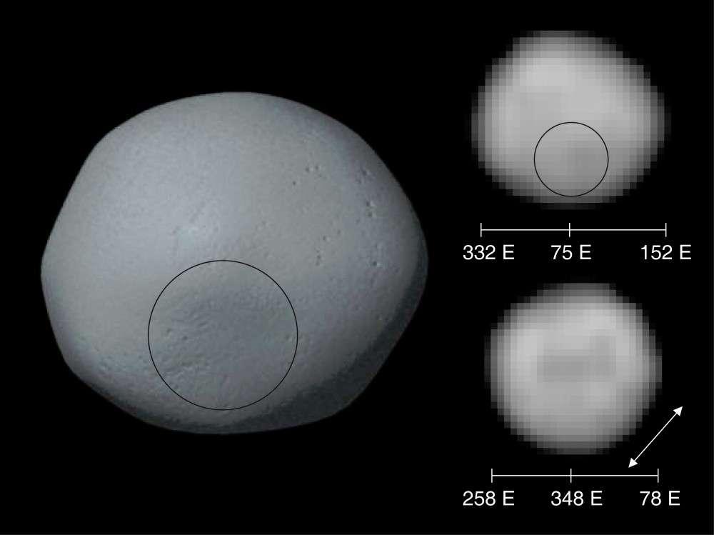 A gauche, une image de synthèse de la surface de Pallas réalisée à partir des images prises par Hubble et que l'on voit à droite. Le cercle indique la localisation de la dépression constituant peut-être les restes d'un cratère d'impact ancien. Crédit : Science