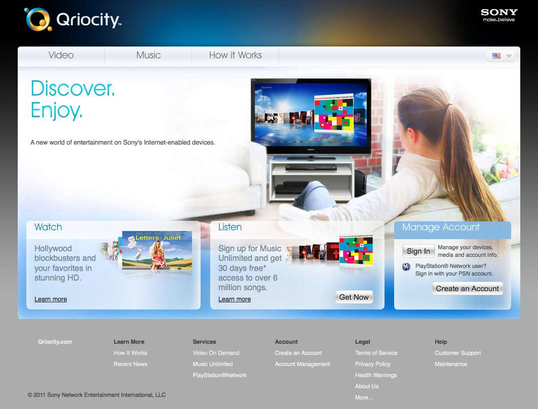 Le site Qriocity.com est désormais complètement réouvert. © 2011 Sony Network Entertainment International, LLC