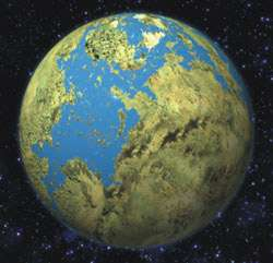 Vue d'artiste d'une exoterre. Les exoterres sont des objets recouverts d'une croûte possédant soit un rayon maximal de deux fois et demie celui de la Terre soit une masse maximale d'une vingtaine de fois celle de la Terre et évoluant à l'intérieur de la zone d'habitabilité de l'étoile parent. Cette région où l'eau à l'état liquide pourrait perdurer à la surface de la planète rendrait la planète potentiellement habitable. © Julian Baum