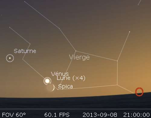 La Lune en rapprochement avec Vénus et Spica