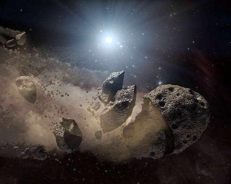 Une vue d'artiste d'un astéroïde brisé par les forces de marée d'une naine blanche. Crédit : Nasa / JPL-Caltech
