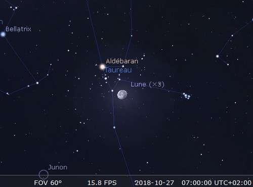 La Lune en rapprochement avec Aldébaran et les Pléiades