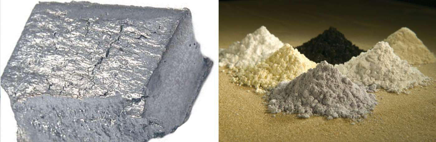 Le gadolinium (image de gauche) appartient au groupe des terres rares, visibles sur l'image de droite sous leurs formes oxydées – le gadolinium se situe au fond à gauche. © Gadolinium, Wikimedia Commons, CC by-sa 3.0 et Peggy Greb, US department of agriculture, Wikimedia Commons, DP
