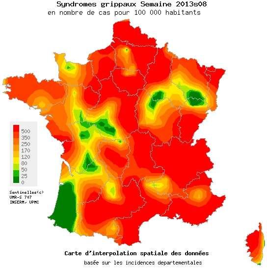 Seuls l'extrême sud-ouest de la France ainsi que quelques zones réparties sur le territoire ont échappé la semaine passée à l'épidémie de grippe. Ce sont les premiers signes de décrue même si la maladie reste encore bien présente. © Sentinelles
