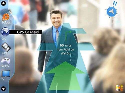 Lumus utilisé en mode GPS, l'image se projetant devant la scène. Crédit Lumus